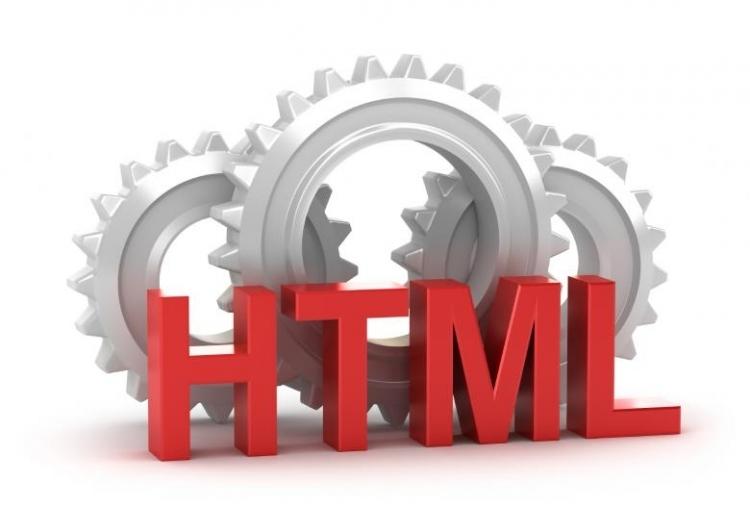 Tandwielen met de letters HTML ervoor