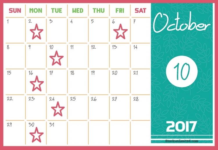 Maandkalender oktober met aanduidingen wanneer nieuwe publicaties moeten verschijnen