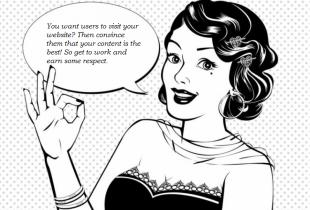 Retro-afbeelding van een vrouw met tekstballonnetje over het belang van engaging content