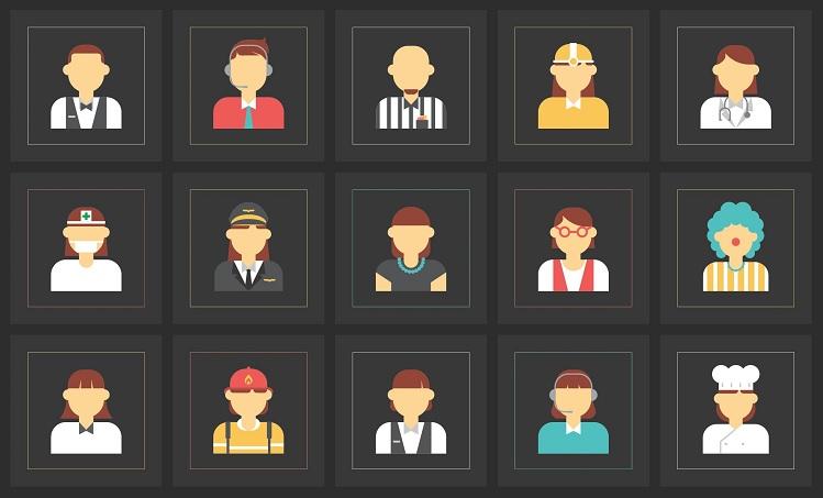 cartoons van mensen met verschillende beroepen.
