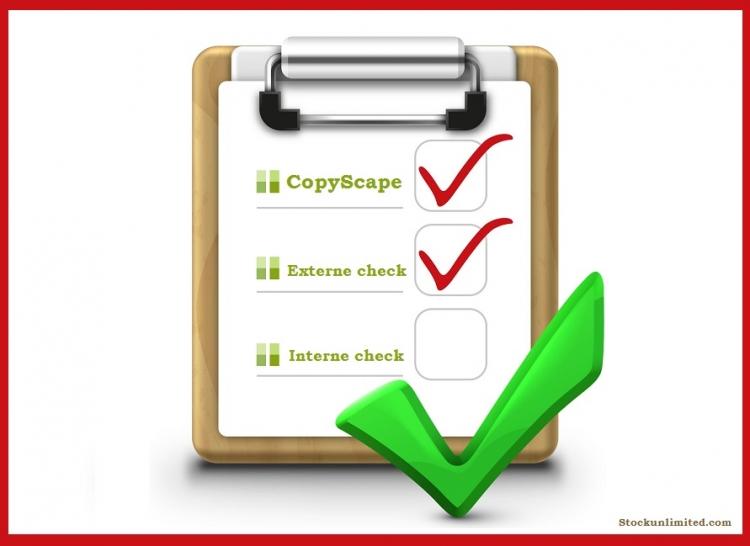 Checklist met drie puntjes: CopyScape, interne controle, externe controle.