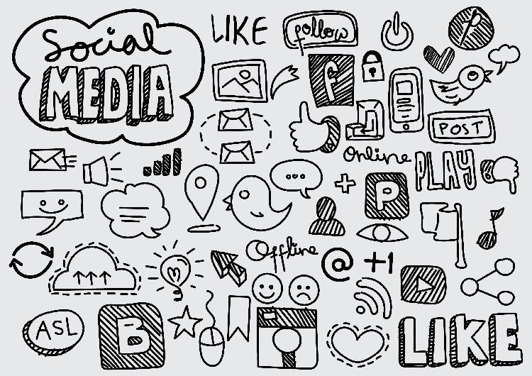 Allerlei afbeeldingen die te maken hebben met social media, berichten posten en liken, en online zijn.