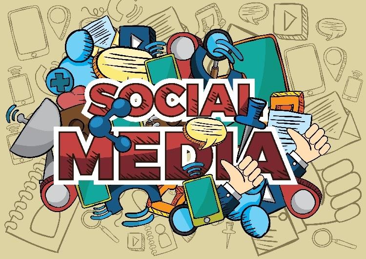 Woorden 'sociale media' in blokletters met daarrond iconen en afbeeldingen van zaken die met sociale media te maken hebben.