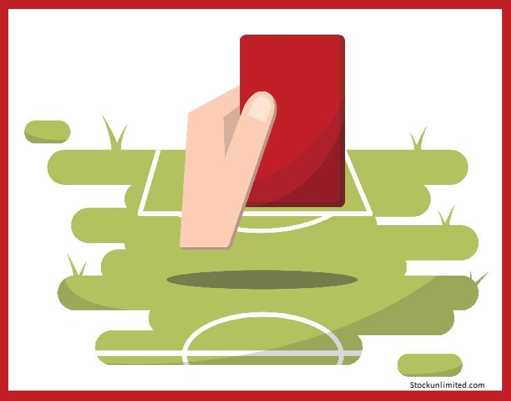 Cartoon van voetbalveld en een hand die een rode kaart opsteekt
