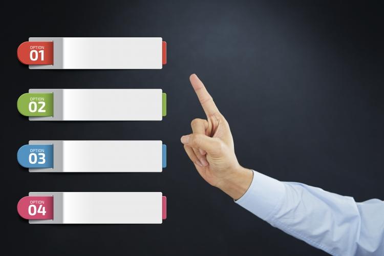 Vier gekleurde tekstbalken en een vinger waarmee één van de tekstbalken gekozen gaat worden