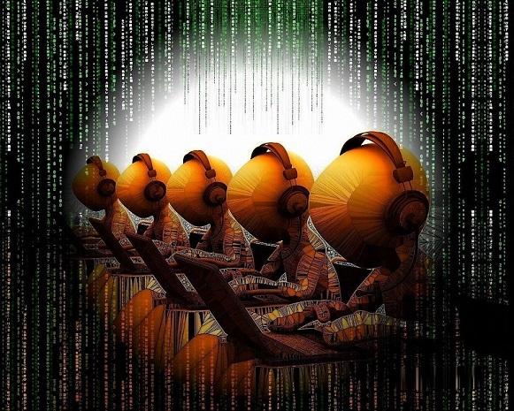 cartoon figuren die op een rijtje zitten en gebruik maken van laptops. De achtergrond is geïnspireerd door de Matrix film.