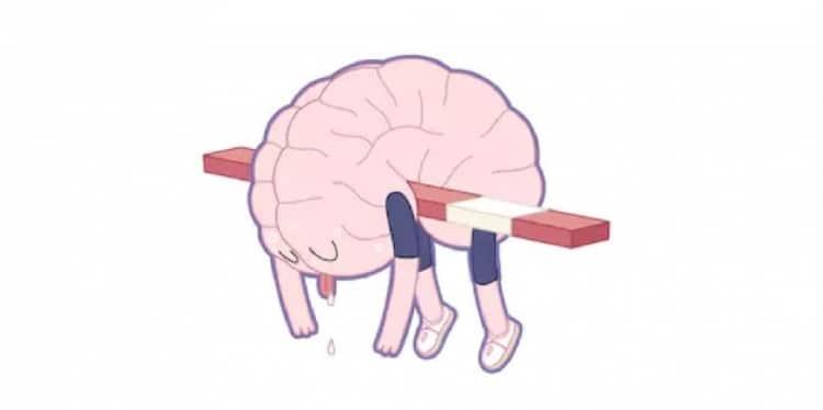 cartoon van hersens die uitgeput op een hoogspringlat liggen.