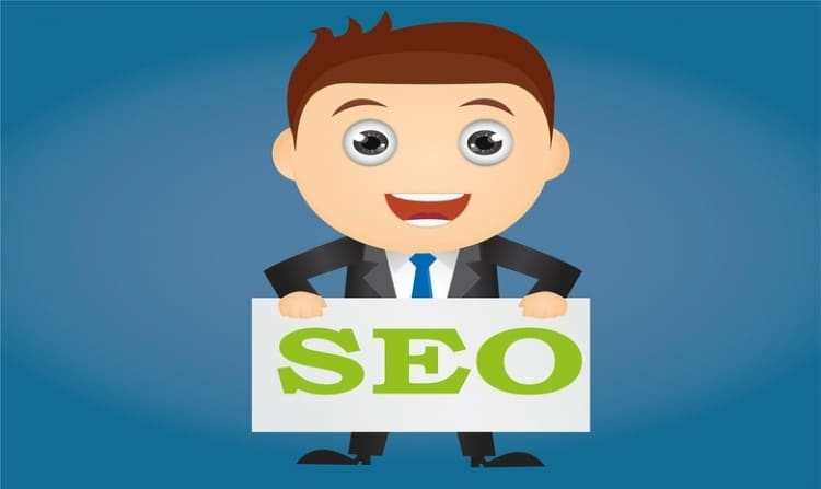 Cartoon gentleman in suit who is smiling is holding a sign with SEO written on it in green color.