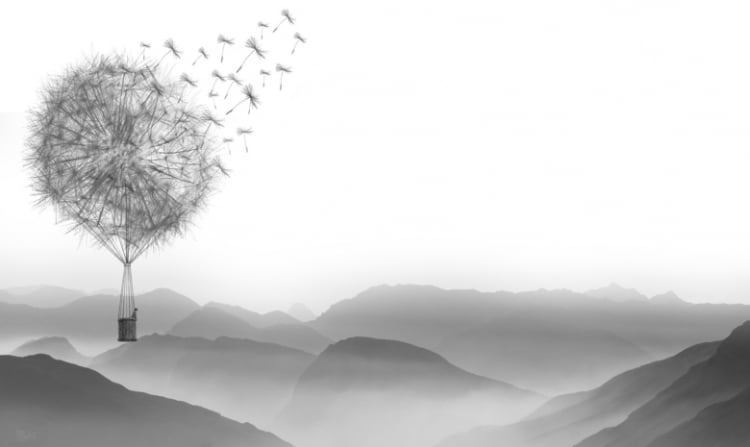 Air balloon in the shape of a dandelion flying over a grey mountainous landscape.