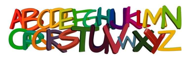 Alle letters van het alfabet in kleur